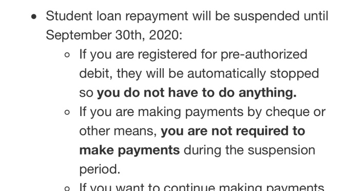 Pause on Canada student loan repayments